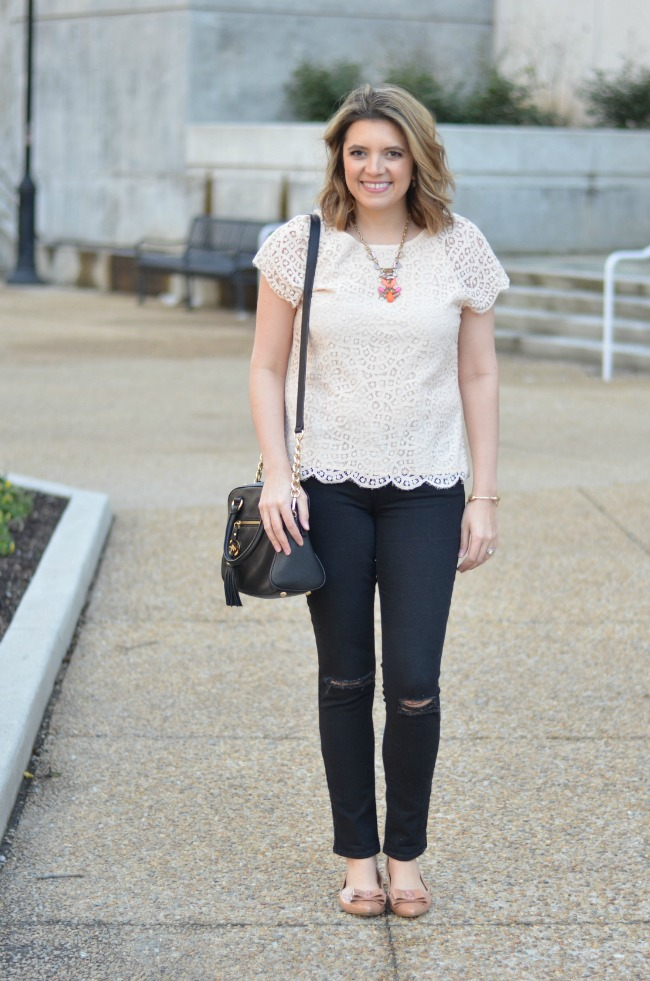 wear lace with distressed jeans