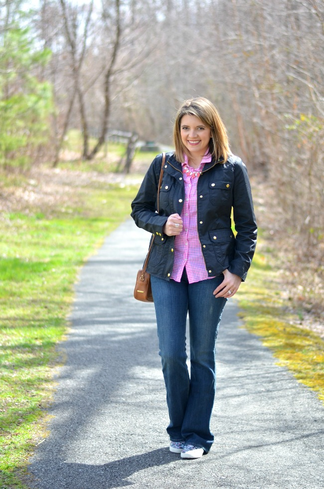 field jacket for spring with gingham button down