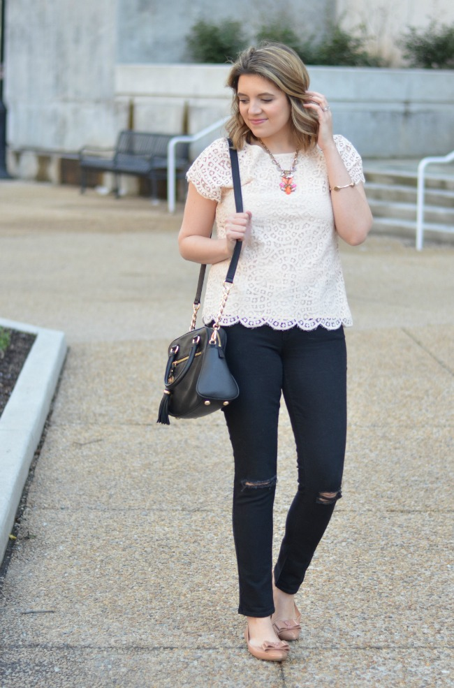 lace top with distressed jeans
