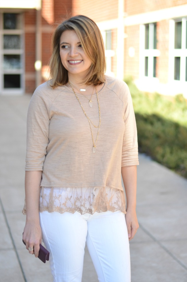 lace trim top with white skinnies