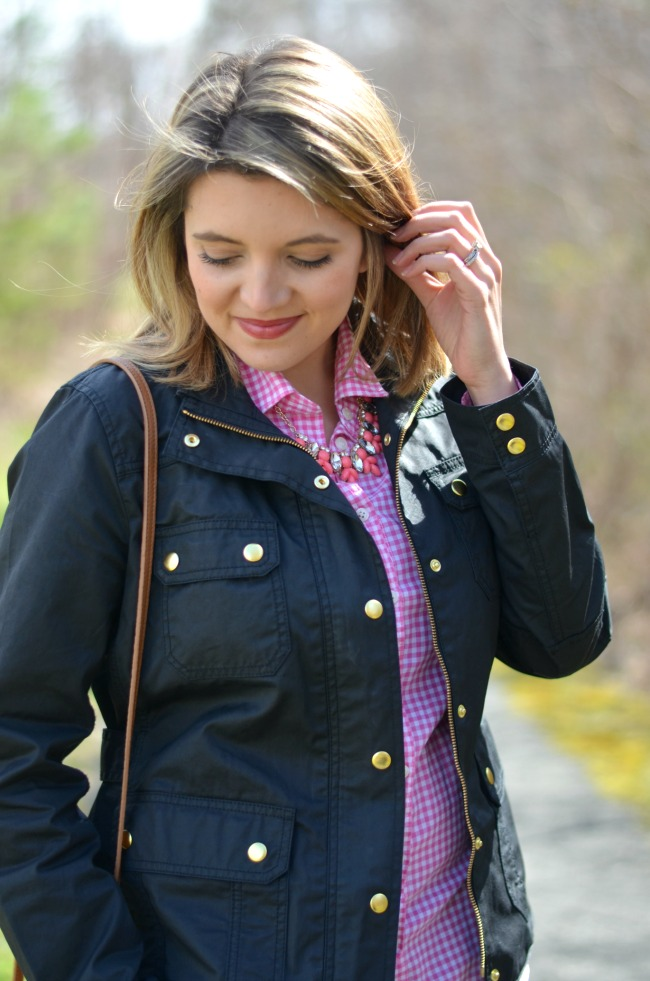 pink gingham with coral necklace