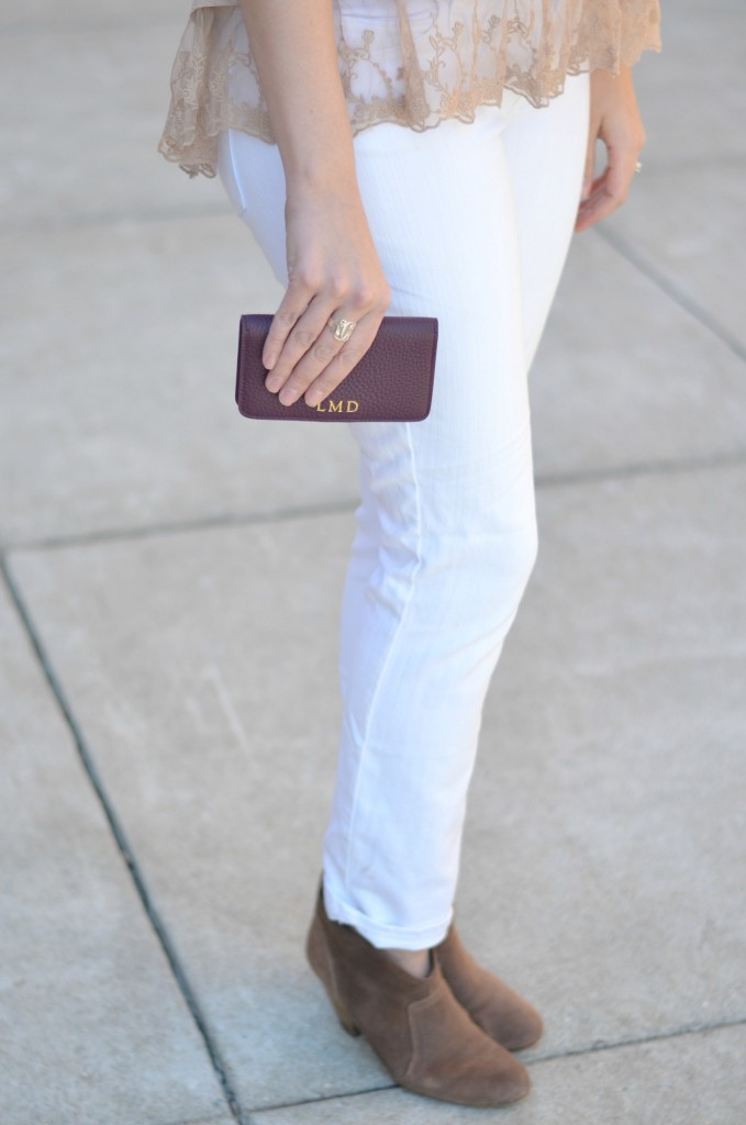 white skinny jeans with suede booties