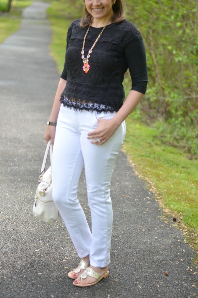 white jeans with black lace top