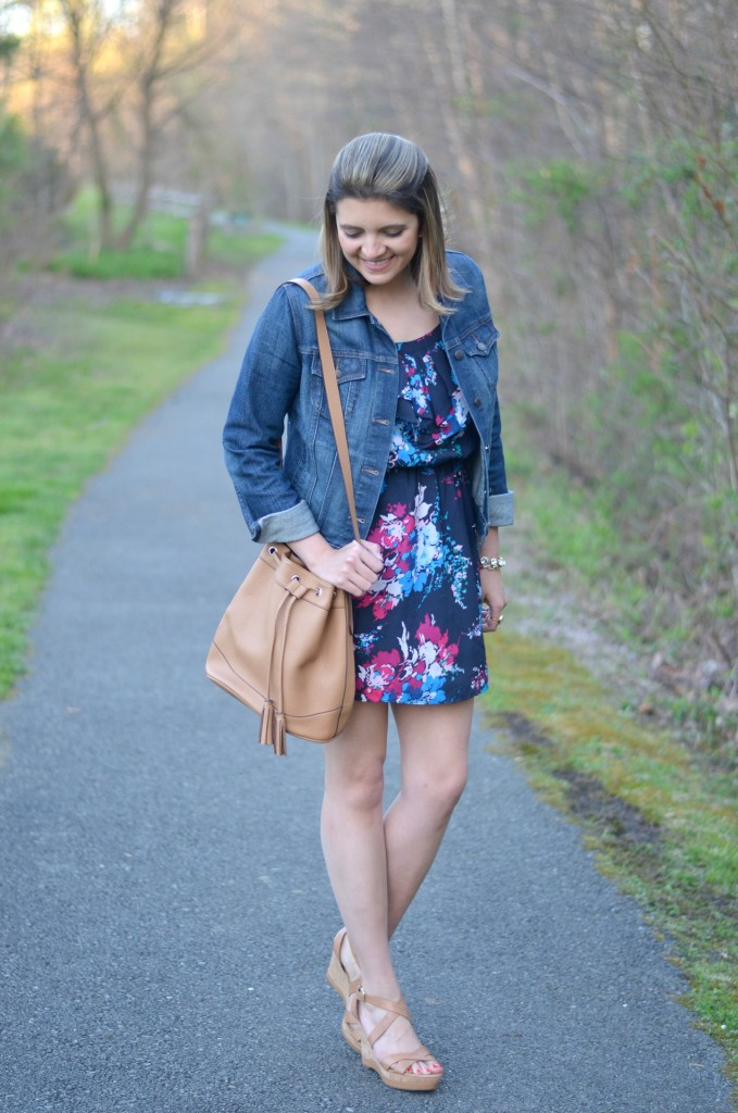 floral sundress with jean jacket