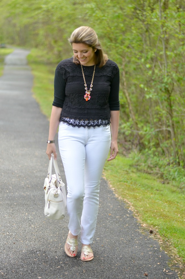 lace top with white jeans
