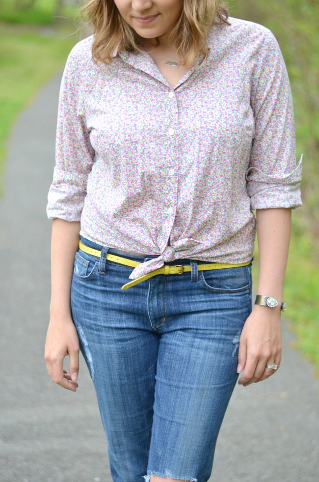 knot button down with jeans