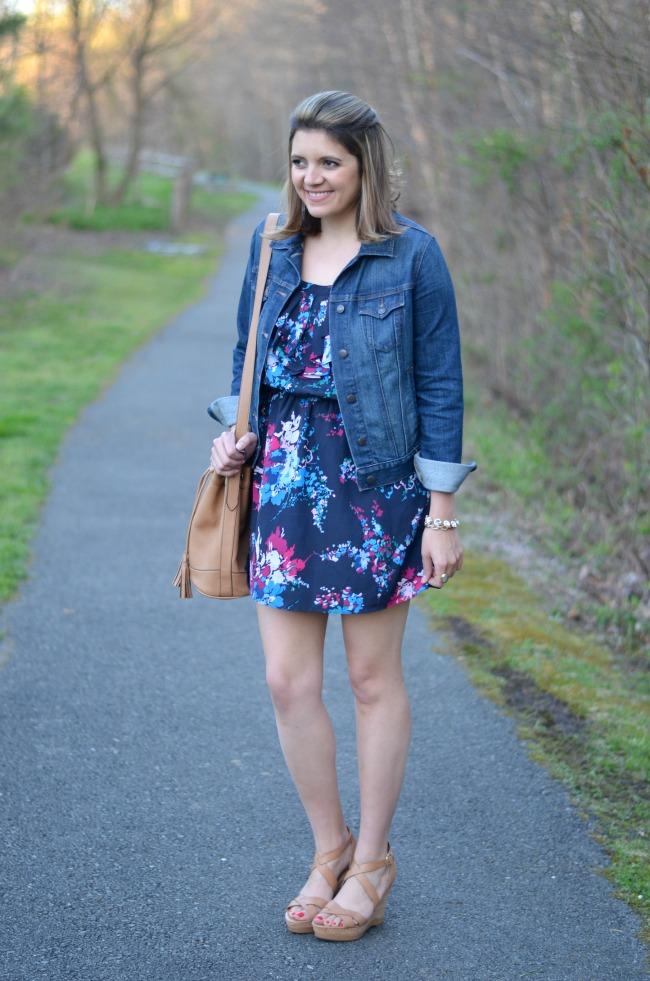 floral dress with denim jacket