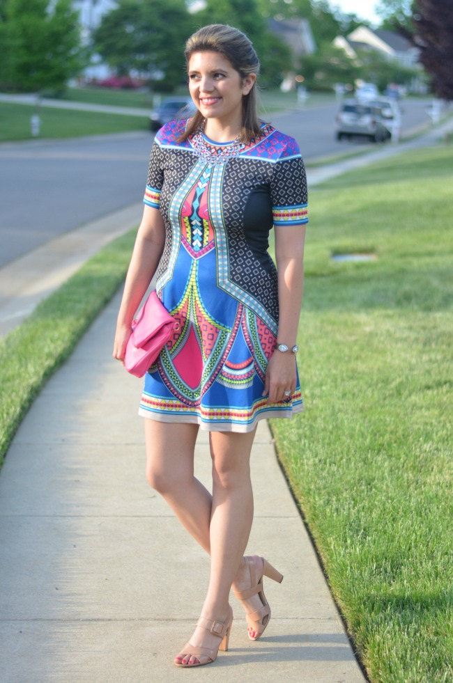 graphic print tribal dress