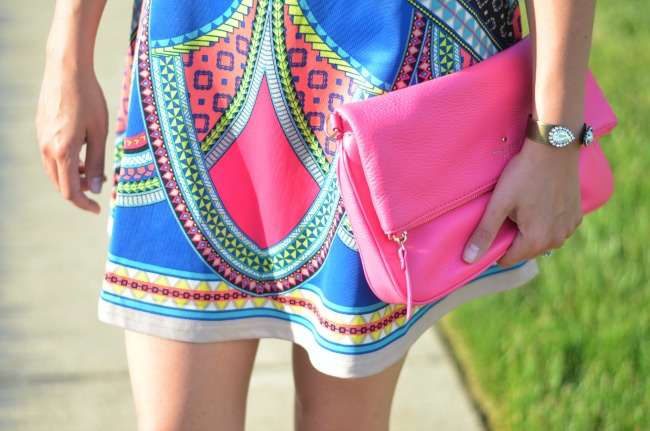 hot pink kate spade clutch