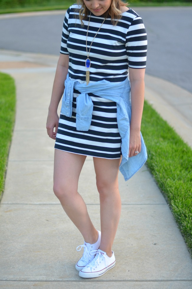 chambray top tied over tshirt dress