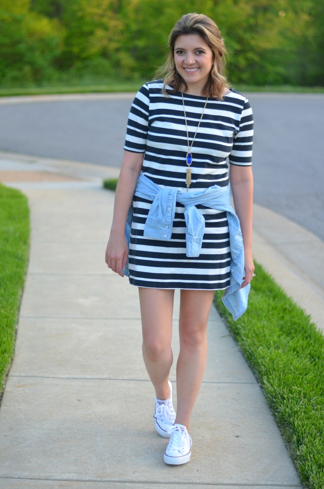 tshirt dress with chambray