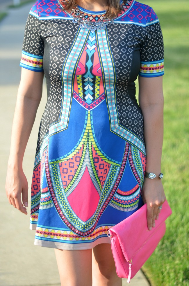 bright geometric print dress