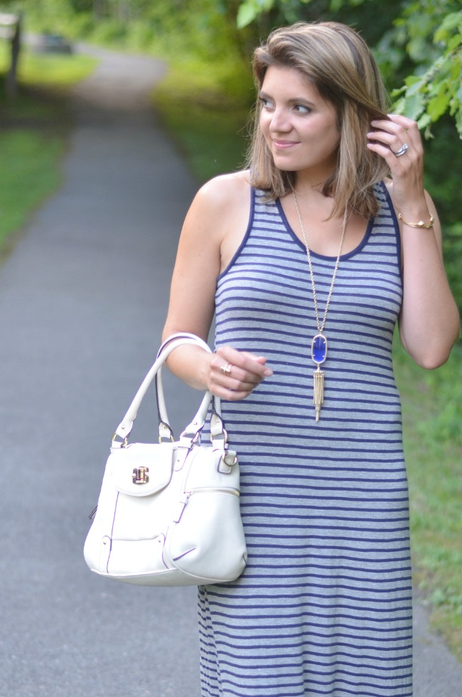 navy and gray striped maxi dress