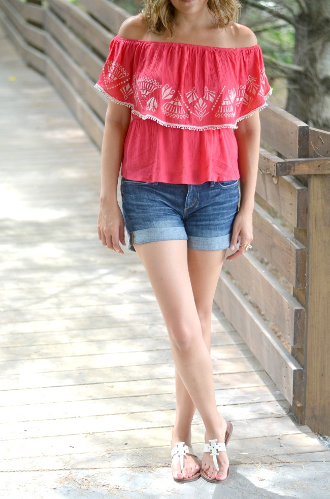off the shoulder top with denim shorts from @fizzandfrosting