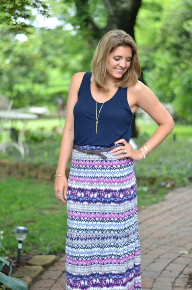 aztec printed maxi skirt