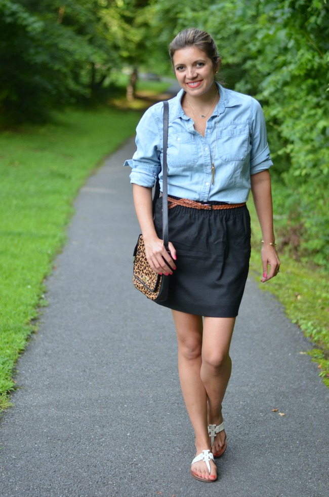 chambray button down with a black mini from @fizzandfrosting