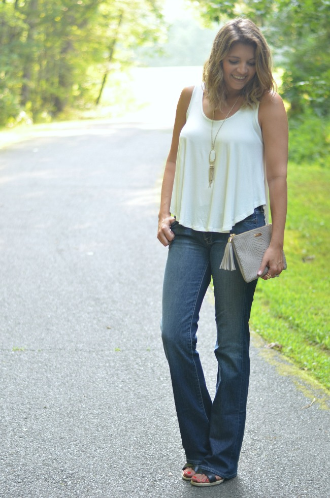 wearing bootcut jeans for Summer  via @fizzandfrosting