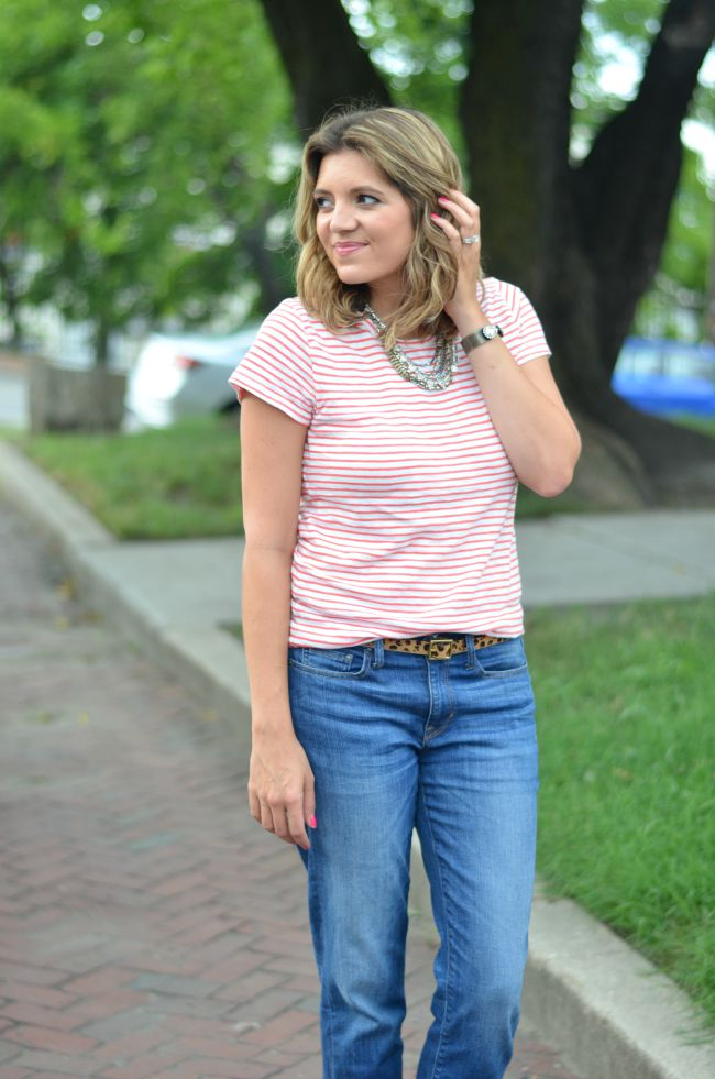 mixed prints: striped tee with leopard print via @fizzandfrosting