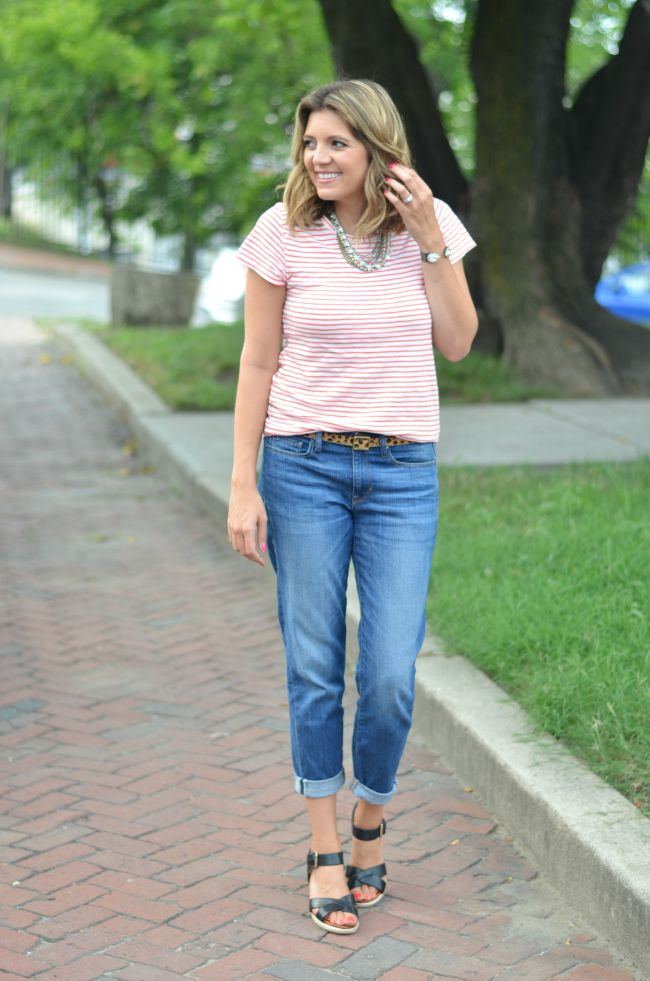 red striped tee with boyfriend jeans via @fizzandfrosting