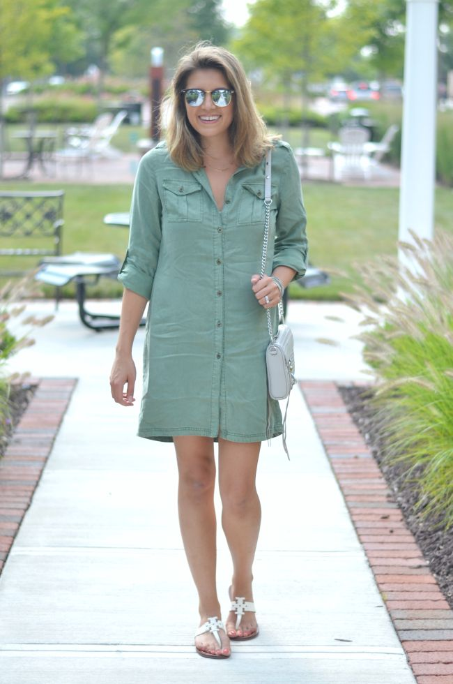 olive green shirtdress