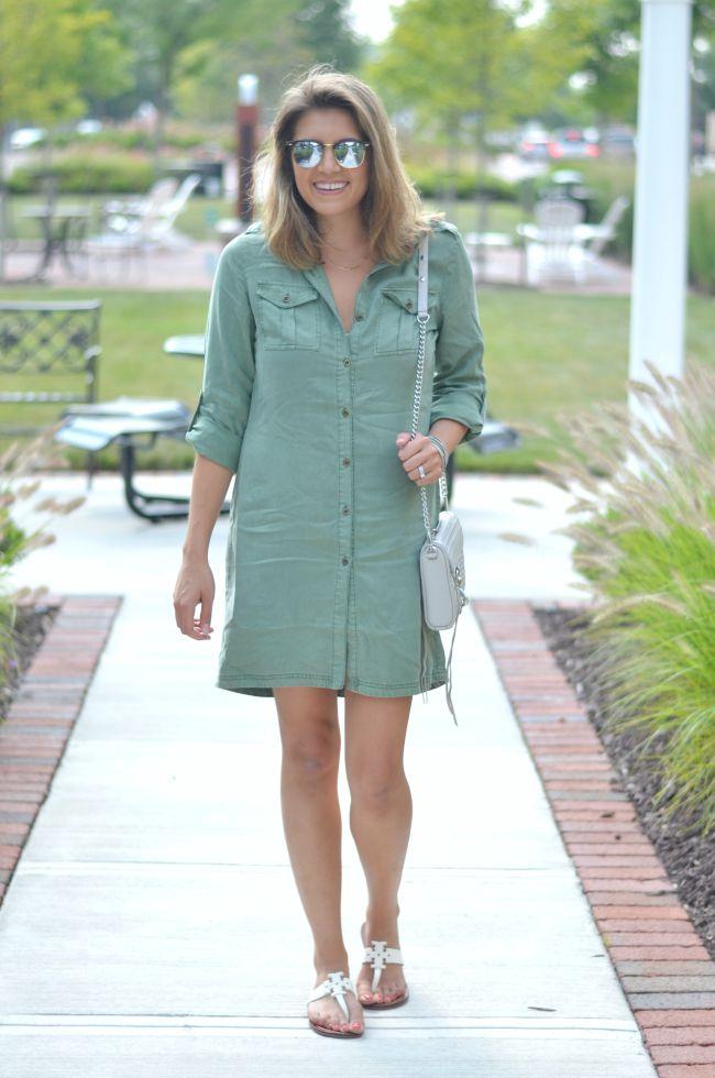 olive green shirtdress