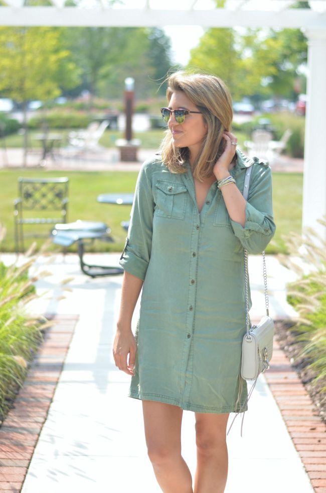 olive green shirt dress via @fizzandfrosting