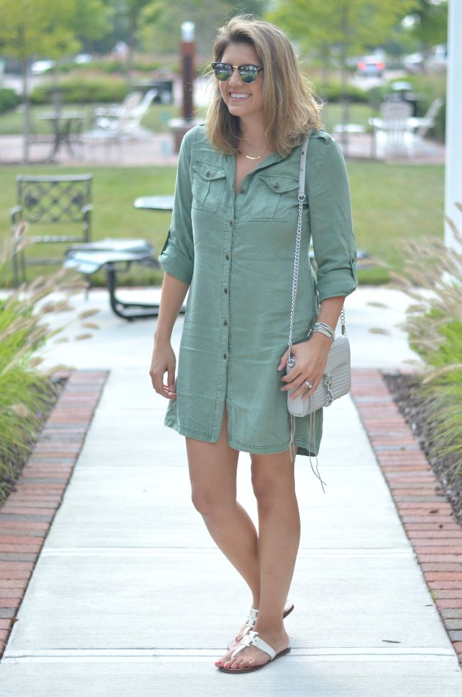 olive green army shirtdress