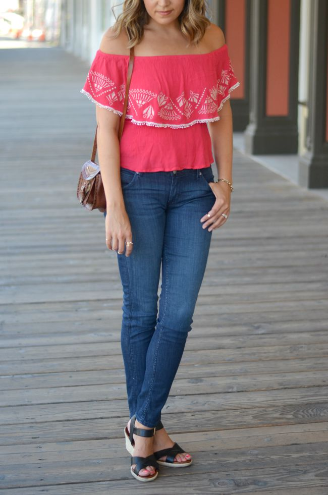 embroidered off the shoulder top with denim via @fizzandfrosting