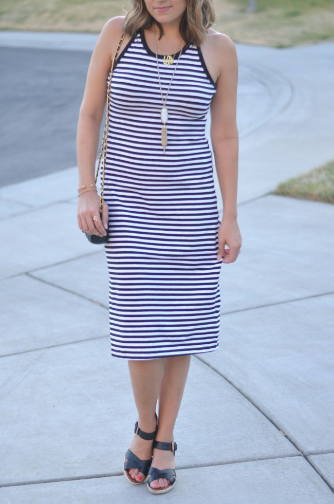 striped tshirt midi dress via @fizzandfrosting