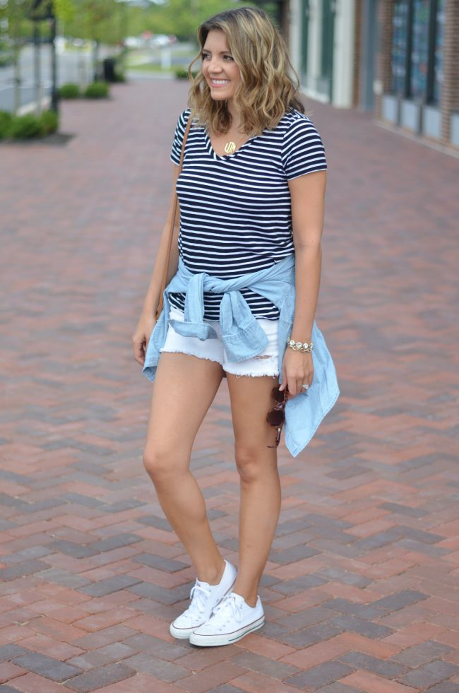 wearing a striped tee for summer via @fizzandfrosting