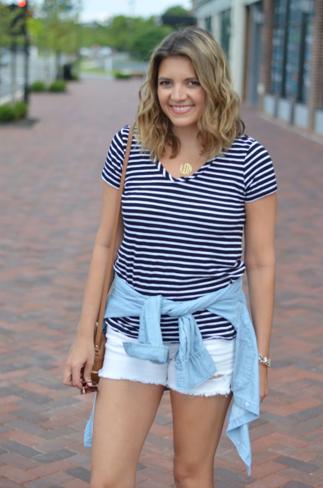dress up a basic striped tee via @fizzandfrosting