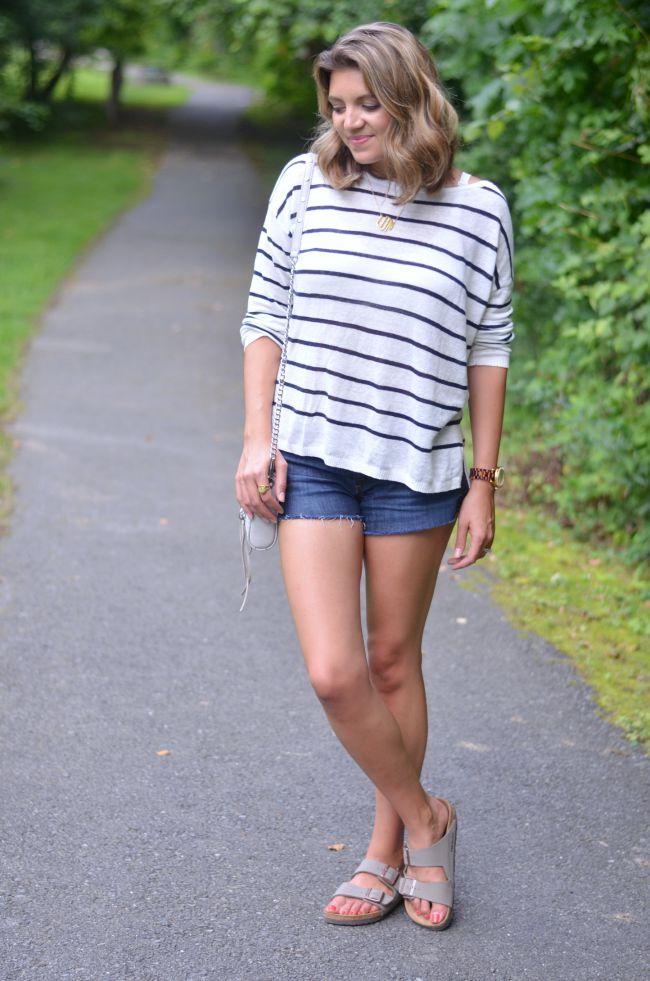 striped linene sweater with shorts and birkenstocks via @fizzandfrosting