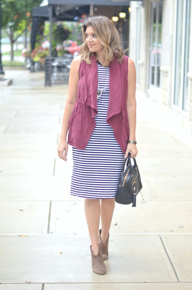 striped dress with draped vest for fall