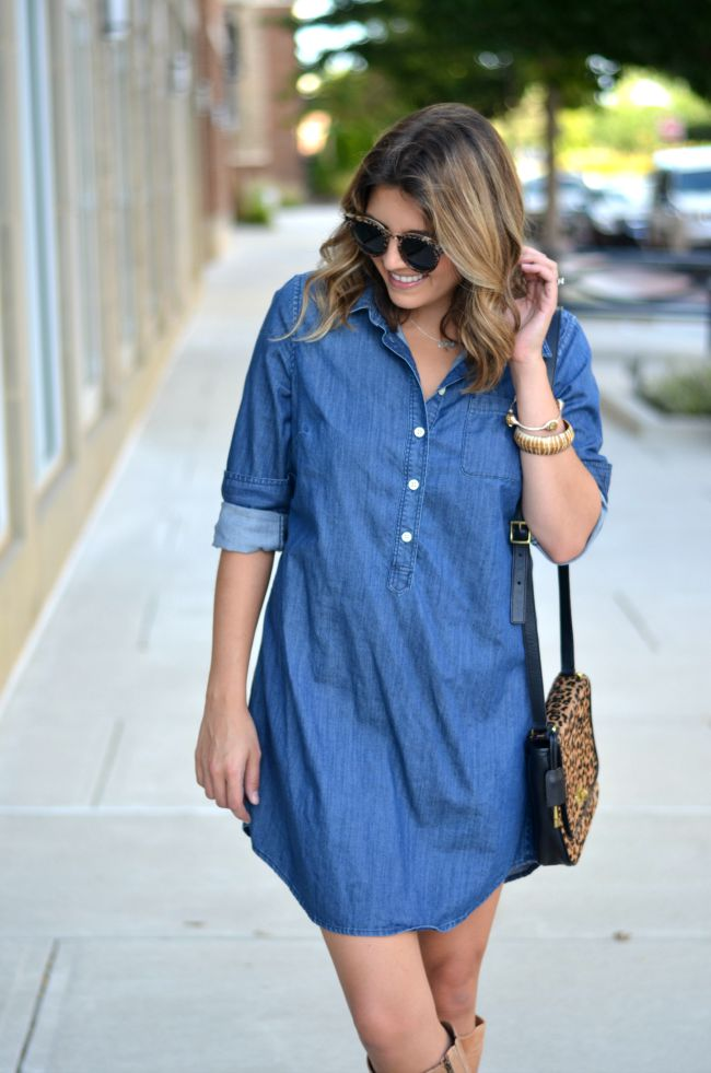 how to wear a chambray dress for fall