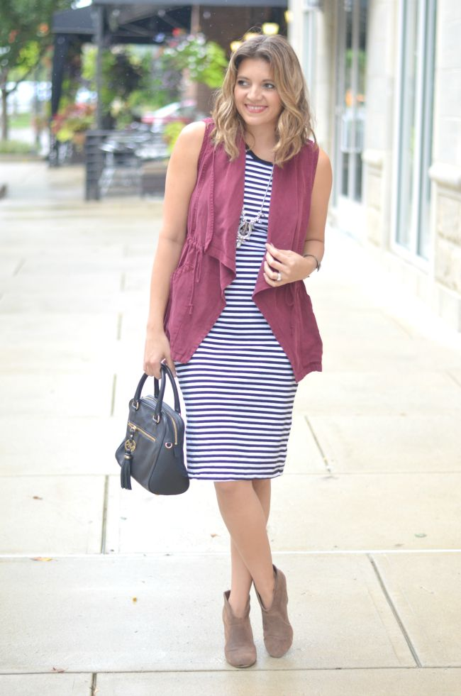 vest over a dress for fall via @fizzandfrosting