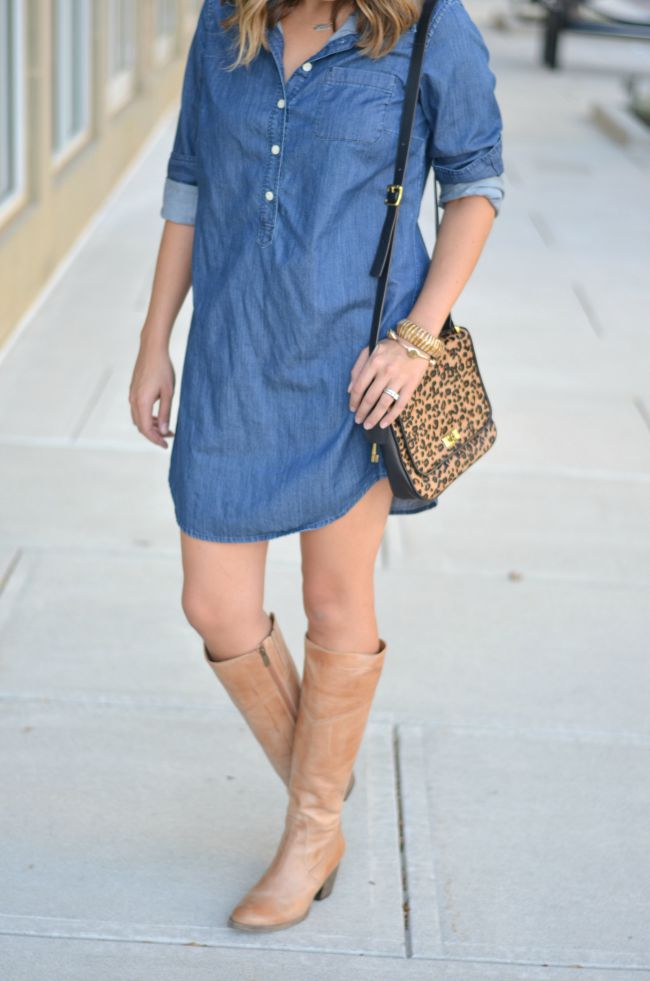 chambray dress with heeled boots via @fizzandfrosting