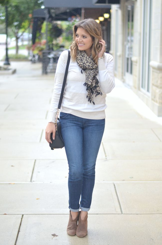 striped sweater with leopard print scarf via @fizzandfrosting