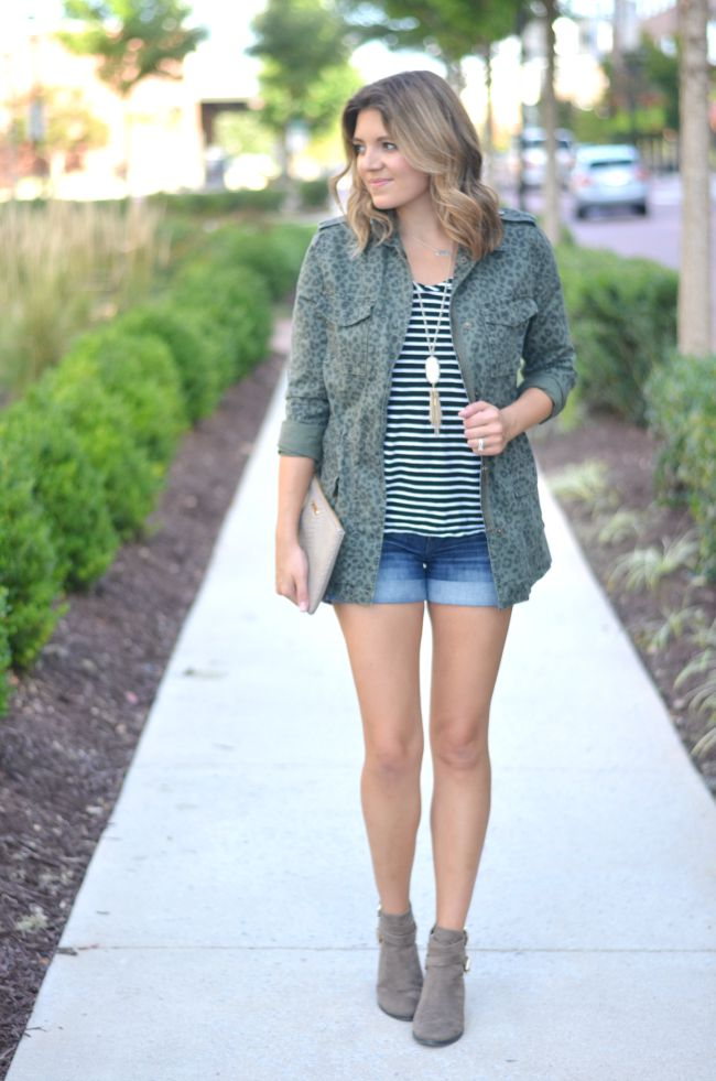 leopard print cargo jacket with striped tee