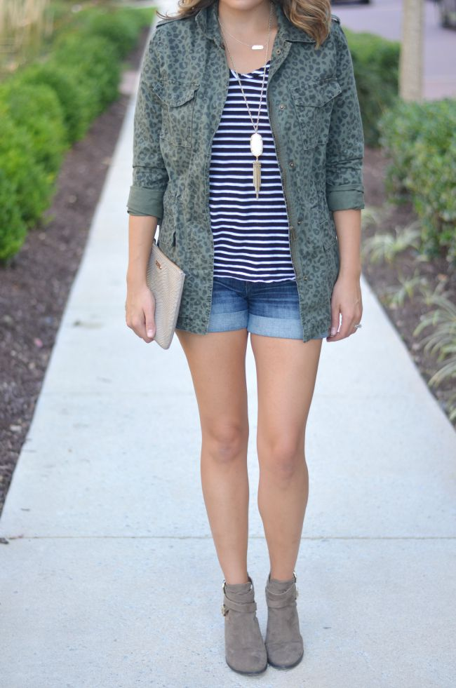 striped tee, cargo jacket, and booties