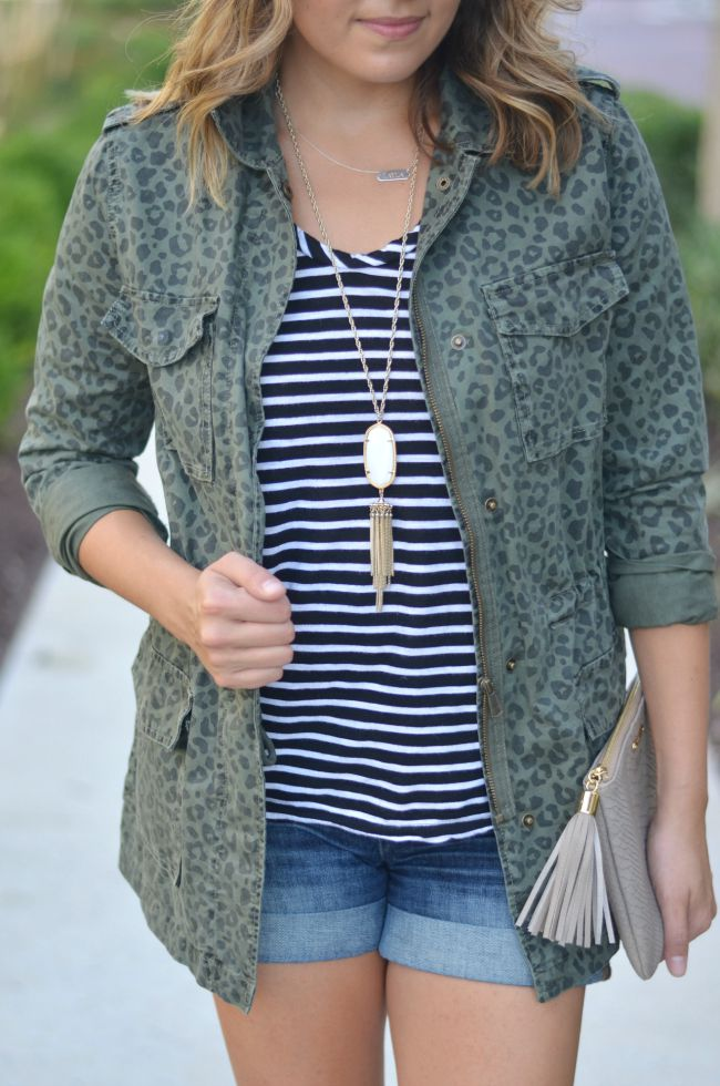 leopard cargo jacket with striped tee for fall