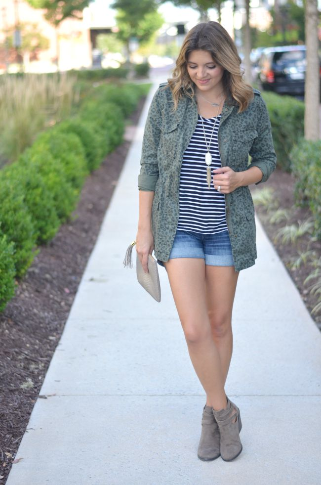 leopard cargo jacket with stripes and denim shorts