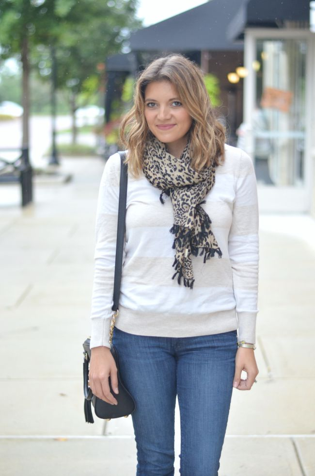leopard print scarf with striped scarf