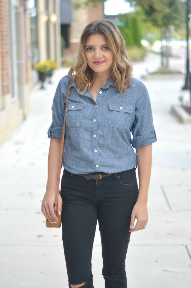 chambray top with black jeans via fizzandfrosting.com