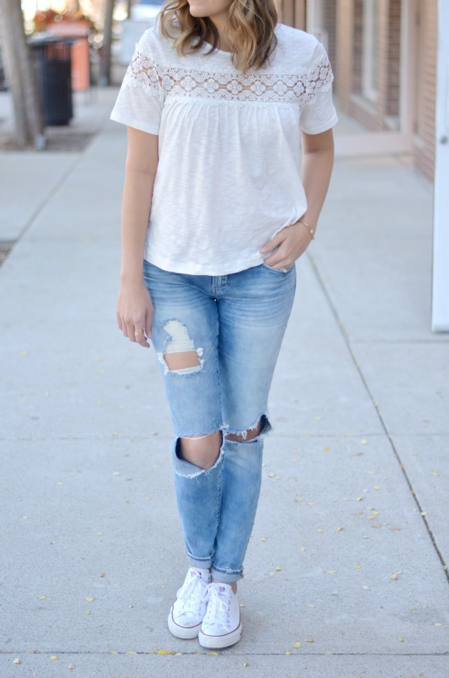 casual weekend look with a swing tee via fizzandfrosting.com