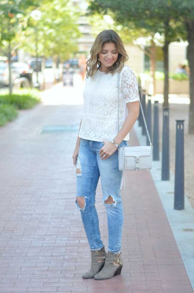 lace top with distressed skinny jeans and booties via fizzandfrosting.com