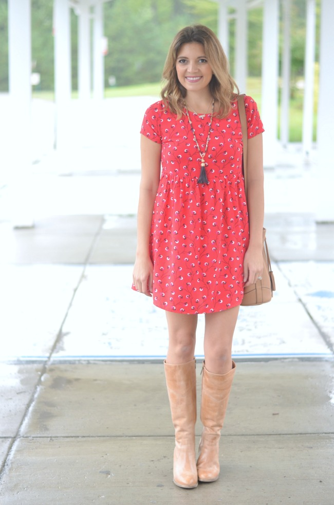 printed dress with heeled boots for fall via fizzandfrosting.com