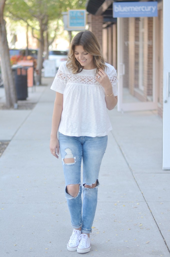 lace swing top with distressed jeans via fizzandfrosting.com
