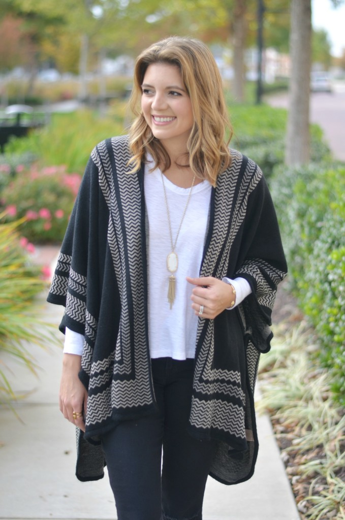 wearing a poncho with a long sleeve tee via fizzandfrosting.com