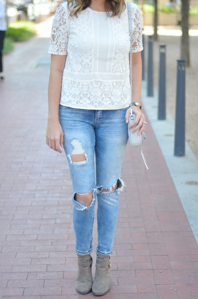 how to wear a lace top for fall via fizzandfrosting.com