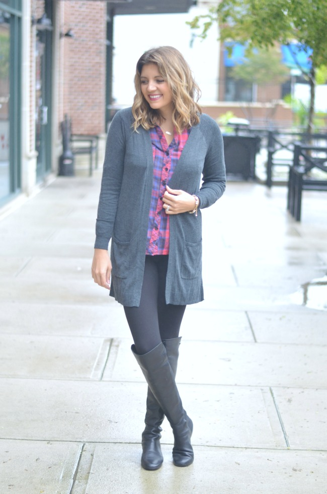 long cardigan with plaid button down via fizzandfrosting.com